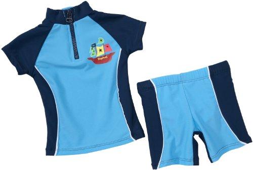 Playshoes Baby - Jungen Babybekleidung/ Badebekleidung UV-Schutz nach Standard 801 und Oeko-Tex Standard 100 Bade-Set Basic blau mit Schiff und Windeleinsatz 460002, Gr. 74/80, Blau (900 original)