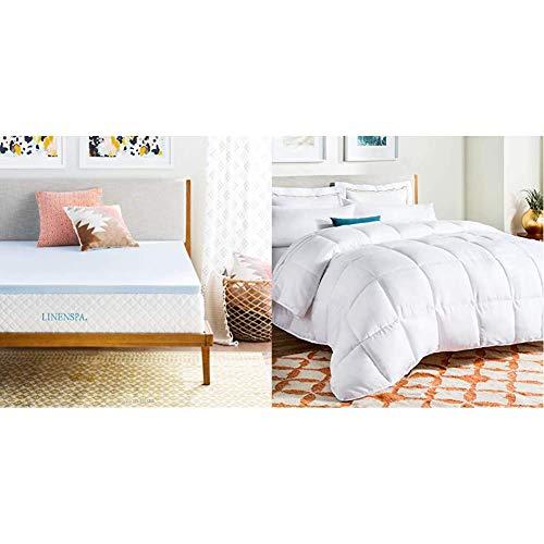 Linenspa 2 Inch Gel Infused Memory Foam Mattress Topper, Queen & All-Season White Down Alternative Quilted Comforter - Corner Duvet Tabs - Hypoallergenic - Plush Microfiber Fill - Queen
