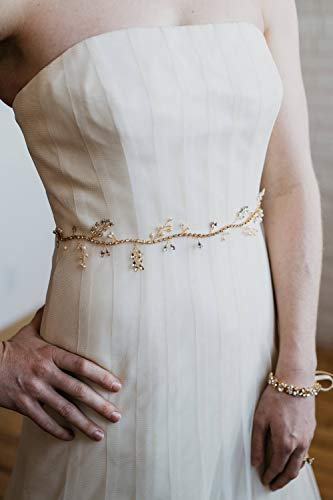 Kercisbeauty Bruidsjurk Sash Strass Riem met Parel en Kristal Taille Band voor Bruid Bruidsmeisjes, Prom FREE SIZE ZILVER
