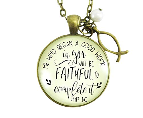 """Gutsy Goodness 24"""" Christian Necklace He Who Began Good Work Bible Quote Ichthys"""