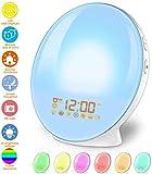 Despertador Luz, Wake Up Light Despertadores Luces LED, Despertador Digital, Simulación de Amanecer/Anochecer, Radio FM, 7 Sonidos Naturales 7 Luces de Colores Función Snooze (Luz calida-2)