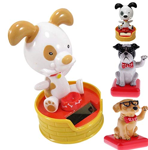 Navillus Set of 4 Dancing Dogs Solar Toy, Just as Pictured, Patched Eye and Bull Dogs with Glasses