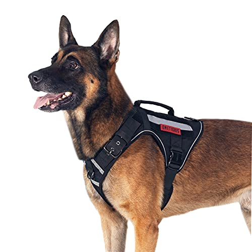 Tactical Dog Harness No Pulling Adjustable Pet Harness Reflective K9 Working Training Pet Vest Military Service Dog Harness Easy Control for Medium Large Dogs(Black,L)