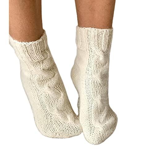 KerDejar Calcetines de punto de punto de cable de invierno de las mujeres, calcetines de ganchillo grueso cálido de Navidad blanco