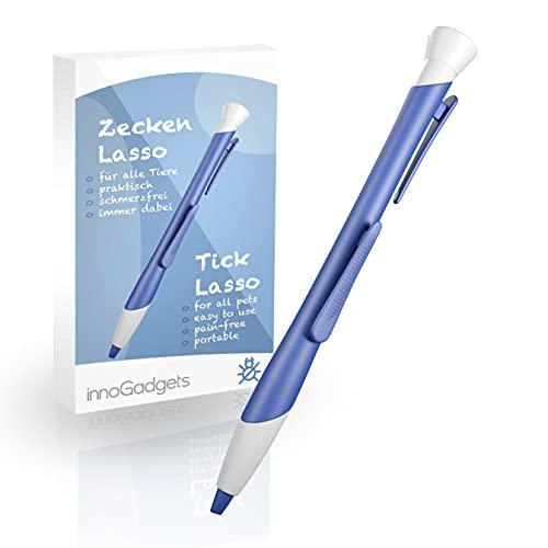 innoGadgets Zeckenlasso   Zecken schnell und einfach mit innovativer Schlinge entfernen   Zeckenschutz für alle Tiere   Zecken Stift (Blau)