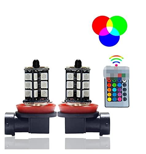 ZIHAN Feil Store 2 unids H1 H3 H4 9005 9006 H11 H7 RGB LED Auto Auto CARIR DE Cara DE Coche 5050 LED 27SMD Strobe LED Lámpara de luz de luz de luz Bombilla con Control Remoto (Socket Type : H7)