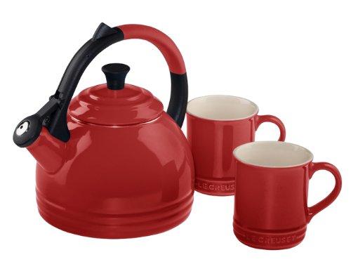 Le Creuset Enamel on Steel Kettle and Mug Gift Set, Cerise...