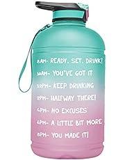 POHOVE Motivationele waterfles 1 gallon/3,7 L met tijdmarkering, stro, lekvrije waterkan, zorg ervoor dat je genoeg drinkt voor fitness, sportschool en buitensporten