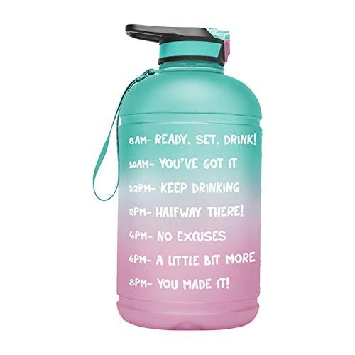 DASNTERED Botella de agua deportiva – 1 galón marcador de tiempo al aire libre Gimnasio deportes botella de agua con paja portátil camping