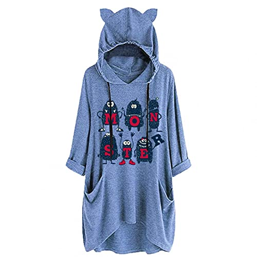 NHNKB Jersey de mujer largo con capucha para invierno, manga larga, algodón, sudadera informal, abrigo, outwear, bolsillos con capucha, azul, XL