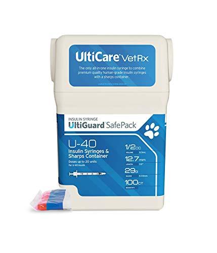 UltiCare VetRx U-40 UltiGuard Safe Pack Pet Insulin Syringes 1/2cc, 29G x 1/2