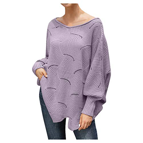 general3 Women Pullover Sweaters Off Shoulder Lantern Sleeve Hollow Irregular Hem Oversized Loose Knitted Jumper Tops (Purple, Medium) from general3