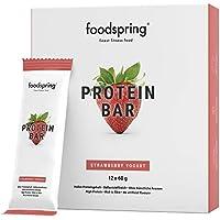 foodspring Barritas de Proteína, Sabor Fresa, Pack de 12 x 60g, Sin azúcar añadido, Baja en carbohidratos, Perfectas para después de entrenar