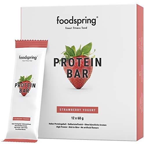 foodspring Protein Riegel, Erdbeere-Joghurt, 12er Pack Eiweißriegel mit ganz wenig Zucker und viel Protein, viel Energie und lecker wie ein Cheesecake