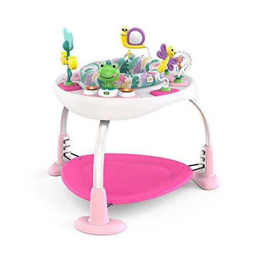 Bright Starts, Saltador y Mesa de Actividades Bounce Bounce Baby 2 en 1, Crece con Bebé, 7 Jugetes Interactivos, Sonidos y Música, Rosa, 6-12 Meses