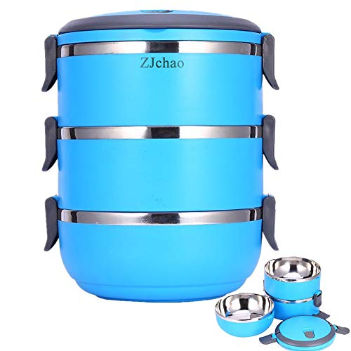 ZJchao Fiambrera apilable Contenedor Interior de Acero Inoxidable con Mango depósito Comida bento Box 3 Capas (Azul)