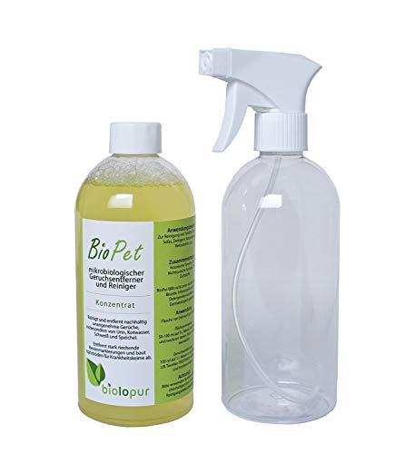 Biolopur - BioPet - Geruchsneutralisierer - Geruchsentferner - Spray - Reinigungsmittel Urin, Haustier etc.  500ml KONZENTRAT ergibt 5L Fertiglösung