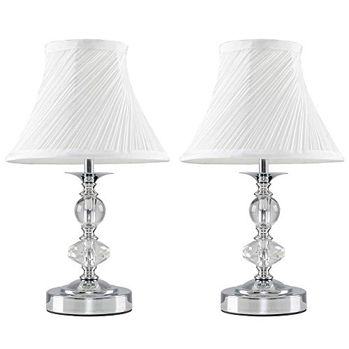 Pair of - Modern Polished Chrome and Glass Touch Table Lamps with Pleated White Shades