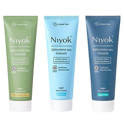 Niyok® Kokosöl Zahnpasta ohne Fluorid und Mikroplastik Plastik | Bio Naturkosmetik Sensitiv auch für Kinder | Xylit Herbal | VEGAN natürliche Geschmack Toothpaste Fresh-Set (3x 75ml)