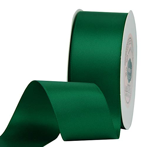 """VATIN 1-1/2"""" Wide Double Faced Polyester Forest Green Satin Ribbon Continuous Ribbon- 25 Yard, Perfect for Wedding, Gift Wrapping, Bow Making & Other Projects"""
