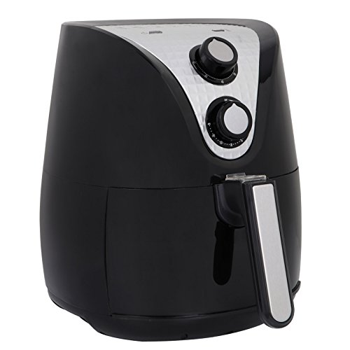 ZENSTYLE 3.7-Quarts Electric Hot Air Fryer 1500 Watt Large Capacity w/Accessories, Low Fat Cooking Oven (Black)