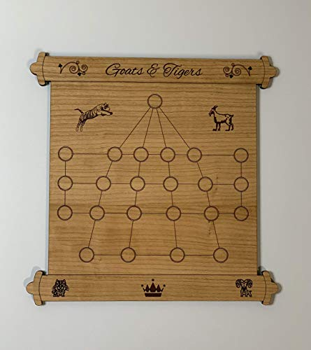 Goats and Tigers Board Game • Classic Ancient Strategy Game • Ages 6+ • Non-toxic BPA-free game pieces • Personalized Gift • बाघचाल - ஆடு புலி ஆட்டம் - మేక పులి ఆత్త