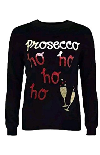 Islander Fashions Vrouwen Prosecco HO HO Gel en Glitter Print sweatshirt Top (S, M, L)