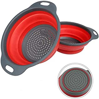 """Silicone Collapsible Colanders (Strainers) Set of 2 - Includes 2 Folding Strainers Sizes 8"""" - 2 Quart and 9.5"""" - 3 Quart (..."""