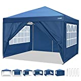 COBIZI 10'x10' Outdoor Canopy Tent, Pop Up Canopy and Gazebo Portable Party Commercial Instant Shelter Tent Mesh Windows Waterproof Canopies with Sidewalls & Carrying Bag for Wedding Beach Events