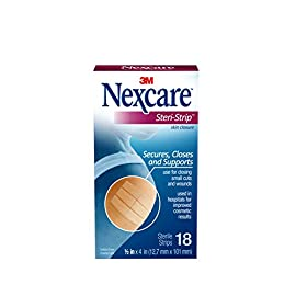 Nexcare Steri-Strip Wound Closure, Secures and closes small cuts and wounds, Alternative to Butterfly Bandages, 1/2 Inch… 4 Skin closure secures Used in hospitals for improved cosmetic results Breathable for added comfort