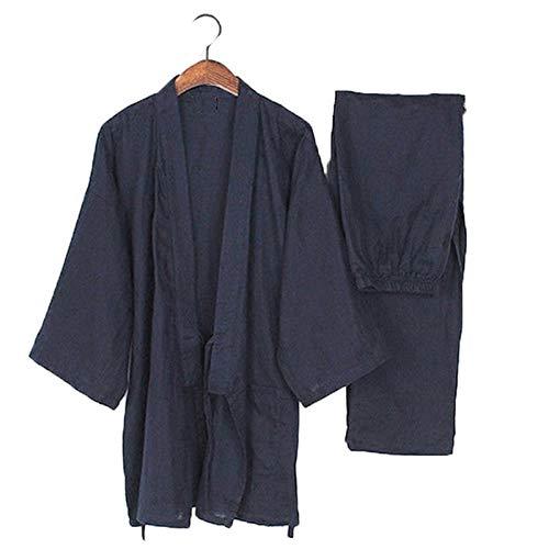 Heren pyjama pak in Japanse stijl Robe Yukata Kimono katoen Home vrijetijdskleding korte mouwen broek 2 stuks L (72.5 to 90KG) Dark Blue 2-delige set