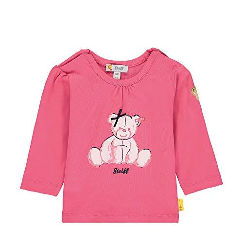 Steiff Baby-Mädchen mit Schleife und Teddybärmotiv Sweatshirt, Rosa (Pink Dove 2203), 80 (Herstellergröße: 080)