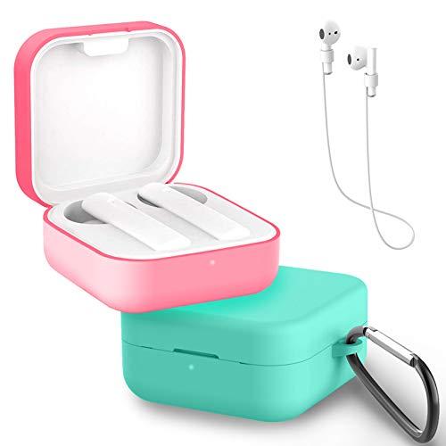 Yoowei [2-Pack] Funda Compatible con Xiaomi Air 2 SE y Mi True Wireless Earphones 2 Basic, 3in1 Protectora de Silicona Funda + Cable de Auriculares + Gancho de Msetal, Rosado + Menta Verde