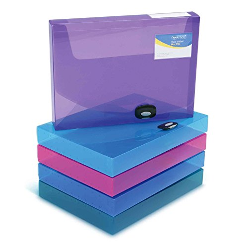Rapesco Documentos - Caja de archivo A4, 40mm de ancho, 5 unidades, varios colores transparente