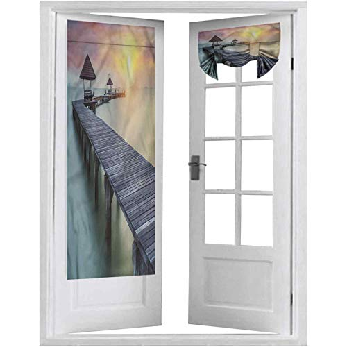 French Door Curtains, Landscape,Wooden Pier Harbor Dusk, 1 Panel-26' X 68' Room Darkening Curtains for Glass Door