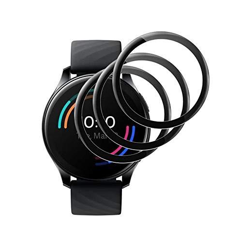 TLING 3 Stück Schutzfolie kompatibel mit Oneplus Watch Folie, Vollständige Abdeckung Soft PMMA Folie Displayschutz Displayschutzfolie für Oneplus Watch, Schwarz