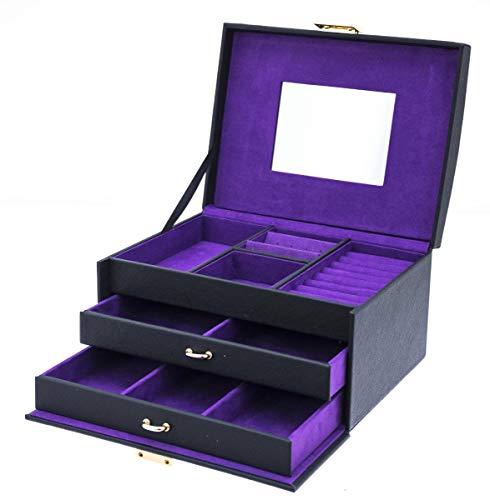 DAVIDTS Schmuckkoffer mit 2 Schubladen Flowers violett