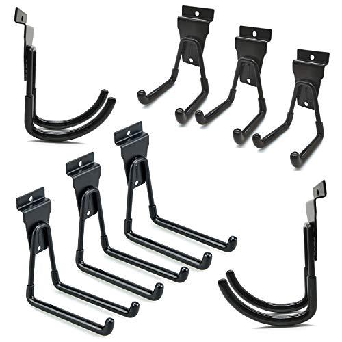 Garage Slatwall Hooks Heavy Duty Slatwall Accessories Multi Size Garage Storage Utility Hooks Bike Ladder Hooks, 8 Pack, Black