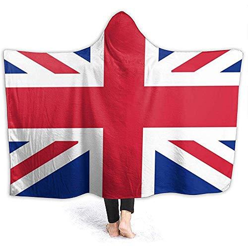 Henry Anthony Britische Flagge Muster Hoodie Decke Coral Plush Ultra Soft Plüsch Freizeit Wear Hooded Throw Wrap
