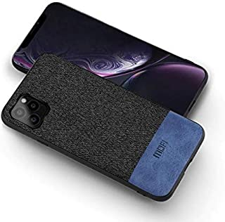 MOFI iphone 11 Pro Max Case, Blue Leather Black Fabric