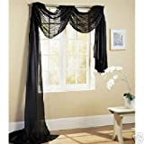 Comfy Deal Beautiful Elegance Fully Stitched Window Sheer Voile Scarf Curtain (Black)