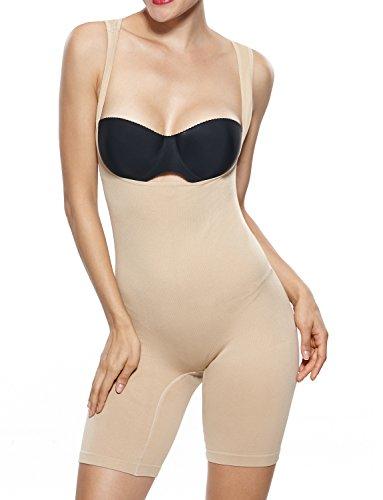 Beilini Women's Shapewear Bodysuit Firm Control Mid Thigh Body Shaper Nude XXL