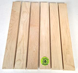 "3/4"" x 2"" x 16"" Solid Hard Maple Hardwood Lumber Made by Wood-Hawk - Pack of 6"