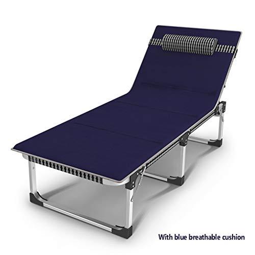Tumbona portátil reclinable Silla de jardín Tumbona Plegable de Oficina 200 kg Capacidad ampliada Silla de Ocio de Playa para Adultos Cama de Campamento Multifuncional