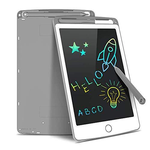 Tecboss - Lavagna digitale LCD con schermo colorato, cancellabile elettronica, ideale come regalo per bambini, adulti, casa, scuola, ufficio, grigio, 8,5 pollici