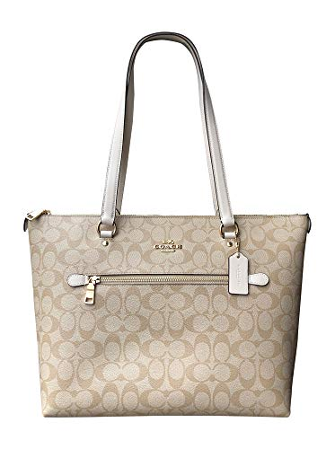 Coach Signature Canvas and Leather Gallery Tote Shoulder Bag, Light Khaki/Chalk