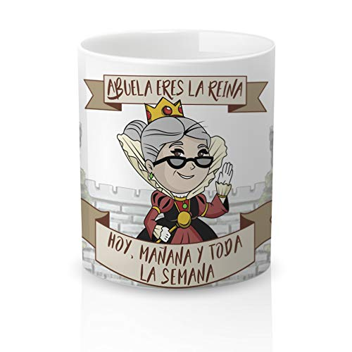 Yujuuu! | Taza cerámica Original Abuela. Resistente 100% al microondas y lavavajillas. Taza con Mensaje Abuela Eres la Reina. Abuela Reina