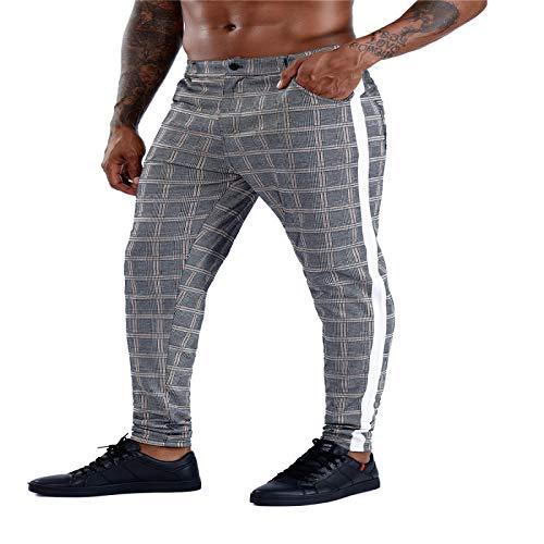 Pantalones Casuales para Hombre con Estampado a Cuadros, Ajustados, Ajustados, con Personalidad Europea y Americana, Pantalones Casuales para Todas Las Estaciones Large