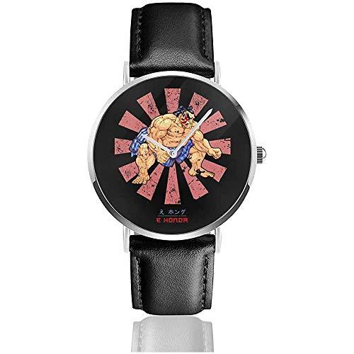 E Ho-nda Retro Japanese Street Fighter Relojes Reloj de Cuero de Cuarzo con Correa de Cuero Negro para Regalo de colección