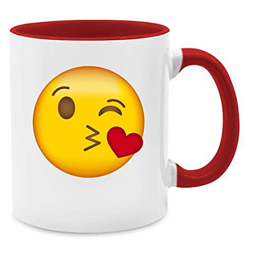 Statement Tasse - Emoticon Kuss-Mund - Unisize - Rot - kaffeetasse rot - Q9061 - Kaffeetasse und Teetasse